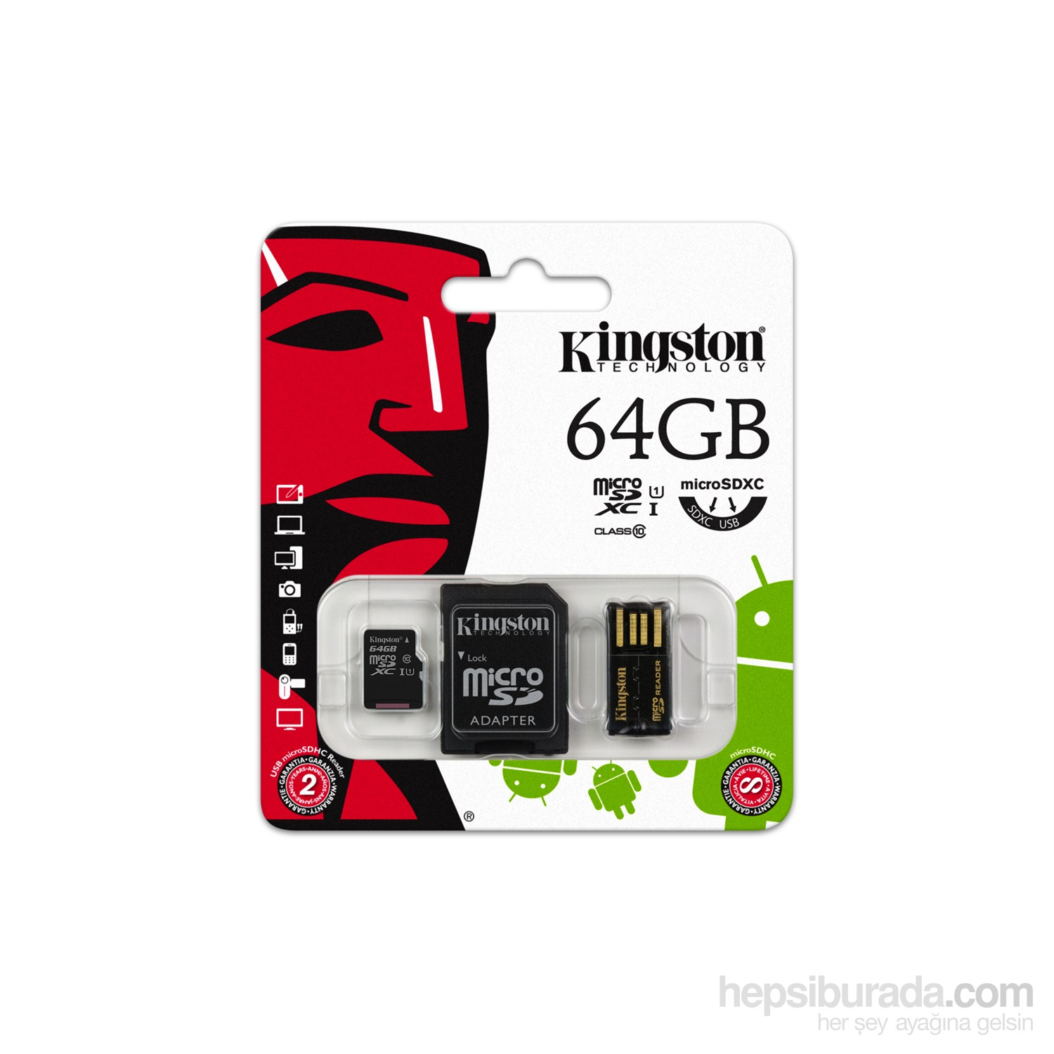 Kingston 64GB Mobility Kit MicroSD Class 10 Sd + Usb Adaptör Kit Hafıza Kartı MBLY10G2/64GB