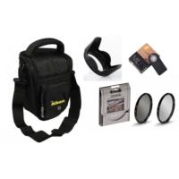 Nikon Üçgen Çanta ve 18-55mm Lens için Uv + Cpl Polarize Filtre + Yaprak Parasoley + Ml-l3 Kumanda