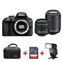 Nikon D3400 18-55mm VR + 55-200mm VR DSLR + TTL Flaş + Çanta + 16 GB SD Hafıza Kartı