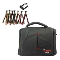 Canon DSLR Omuz Çantası Set Çanta + Mini Tripod Gorillapod - Pembe