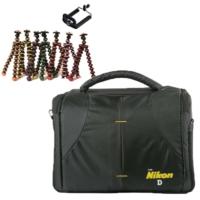 Nikon DSLR Omuz Çantası Set Çanta + Mini Tripod Gorillapod - Yeşil