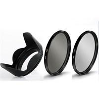 Beta 52Mm Lens Ler İçin Koruyucu Uv + Cpl Polarize Filtre + Yaprak Parasoley