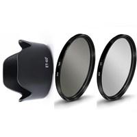 Beta Canon 75-300Mm Lens İçin Koruyucu Uv + Cpl Polarize Filtre + Et-60 Iı Parasoley