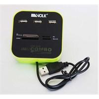 Volk CB26 USB Combo 3 Port Hub, SD, Micro SD, M2, MS Kart Okuyucu