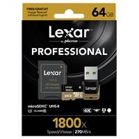 Lexar 64Gb Microsdxc 1800X Uhs-Iı 270Mb/Sn.Usb 3.0Reader & Sdhc Adapter (C10) U3 Hafıza Kartı