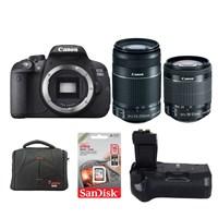 Canon Eos 700D + 18-55 + 55-250 Lens + Battery Grip + Hafıza Kartı + Çanta