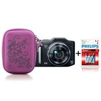 Addison 300239 Mor Kamera Çantası + Philips LR03P6B/10 Alkaline İnce AAA 6'lı Pil