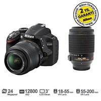 """Nikon D3200 18-55 VR + 55-200 VR Kit 24 MP 3"""" LCD Ekran Dijital SLR Fotoğraf Makinesi"""