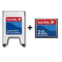 Sandisk PCMCIA-CF Compact Flash Adaptör + 2GB Compact Flash Kart