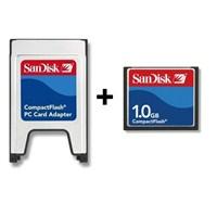Sandisk PCMCIA-CF Compact Flash Adaptör + 1GB Compact Flash Kart