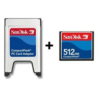 Sandisk PCMCIA-CF Compact Flash Adaptör + 512MB Compact Flash Kart