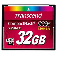 Transcend 32GB 800x Compact Flash Kart (Type I)
