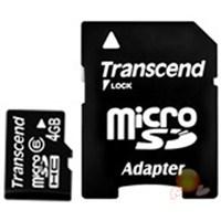 Transcend 4 GB Class 6 Micro SDHC Hafıza Kartı + SD Adaptör TS4GUSDHC6