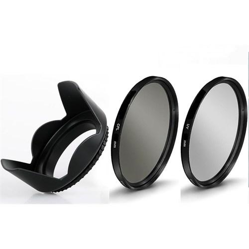 Beta Canon 18-55Mm Lens İçin Koruyucu Uv + Cpl Polarize Filtre + Yaprak Parasoley