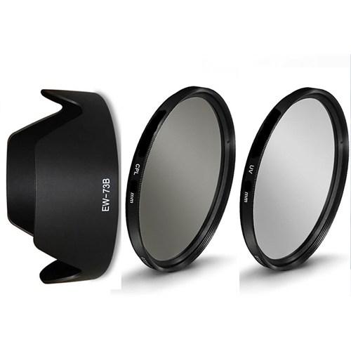 Beta Canon 18-135Mm Lens İçin Koruyucu Uv + Cpl Polarize Filtre + Ew-73B Parasoley