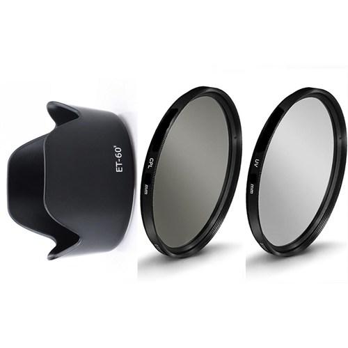 Beta Canon 55-250Mm Lens İçin Koruyucu Uv + Cpl Polarize Filtre + Et-60 Iı Parasoley