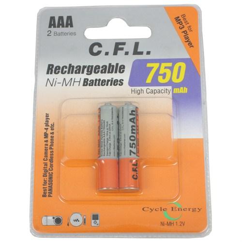 CFL Şarjlı 750 mAh AAA İnce Kalem pil