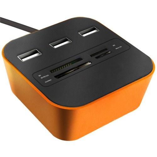 Codegen USB 2.0 Kart Okuyucu + 3 Usb Port Turuncu