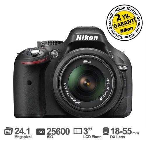 "Nikon D5200 18-55 DX 24.1 MP 3"" LCD Ekran Dijital SLR Fotoğraf Makinesi"