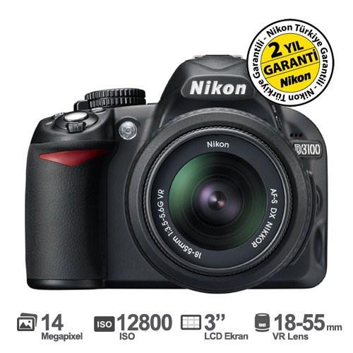 """Nikon D3100 18-55mm VR Kit 14.2 MP 3"""" LCD DSLR Dijital Fotoğraf Makinesi"""