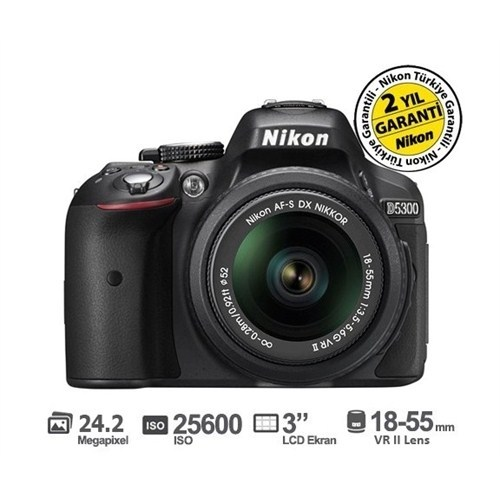 Nikon D5300 18-55MM F3.5-5.6G VR II SLR Dijital Fotoğraf Makinesi