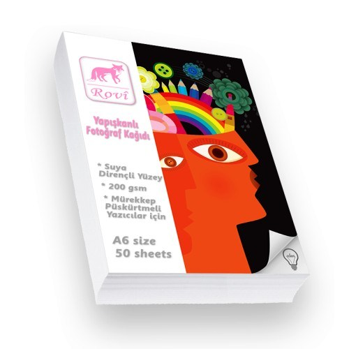 Rovi Fine-Art Yapışkanlı Fotoğraf Kağıdı - 200Gsm - 50Yp - A6
