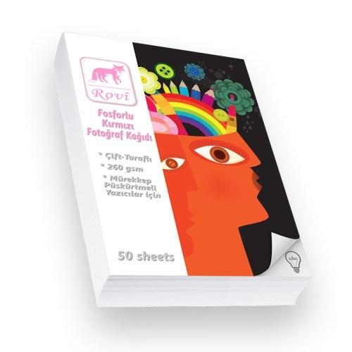 Rovi Fine-Art Fosforlu Kırmızı Fotoğraf Kağıdı - 260Gsm - 50Yp - A6