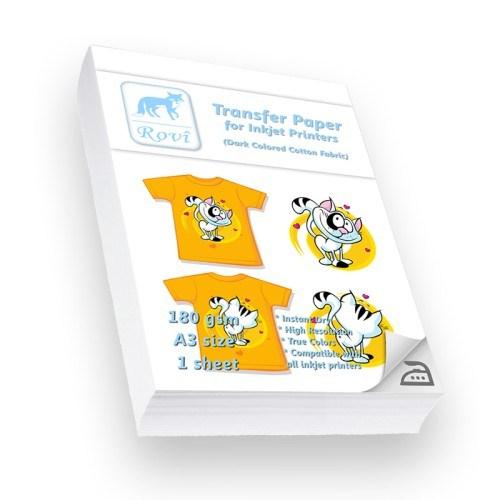 Rovi Koyu Renk Pamuklu Kumaşlar İçin Transfer Kağıdı - 1Yp - A3