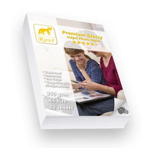 Rovi Premium Parlak Fotoğraf Kağıdı - 300Gsm - 50Yp - A5