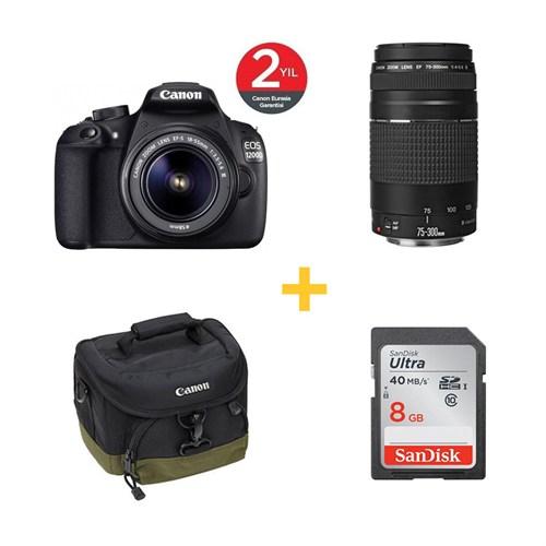 Canon Eos 1200D 18-55 mm DC DSLR Fotoğraf Makinesi + 75-300mm Lens + 100EG Çanta + 8GB Hafıza Kartı