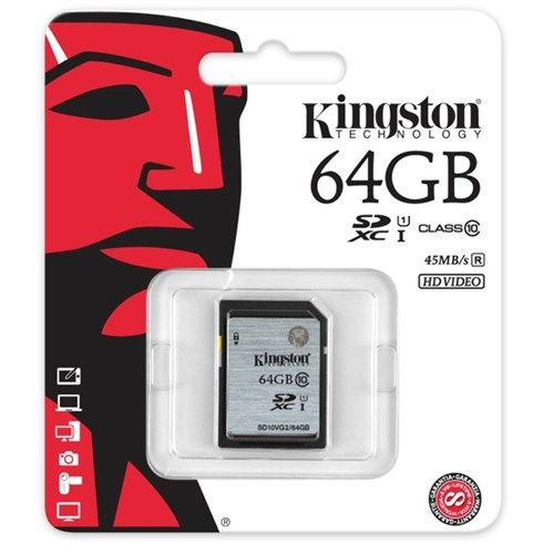 Kingston 64GB Class10 UHS-I SDXC Hafıza Kartı (45MB/s) SD10VG2/64GB