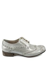 Matraş Kadın Deri Ayakkabı Gümüş