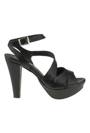 Gess 16439 X Bantli Platform Acik Siyah Kadın Ayakkabı