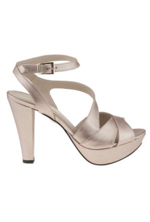 Gess 16439 X Bantli Platform Acik Nar Çiçeği Kadın Ayakkabı