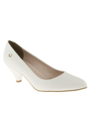 Pierre Cardin 45334 Mini Topuk Stiletto Beyaz Kadın Ayakkabı
