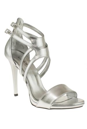 Alisolmaz 3050 Çift Toka Gümüş Kadın Ayakkabı