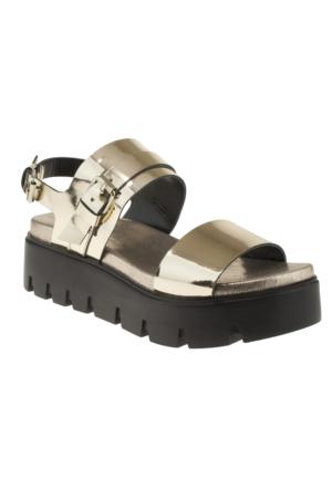 Yees 402 Kalin Bant Tokali Altın Kadın Sandalet