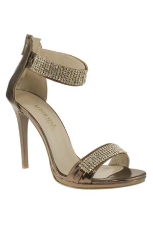 Alisolmaz 3062 Tasli Ince Bilek Bantli Bronz Kadın Ayakkabı