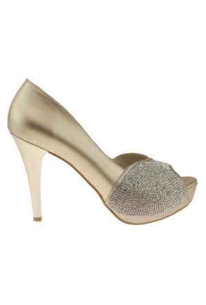 Alisolmaz 3060 On Acik Tasli Klasik Altın Kadın Ayakkabı
