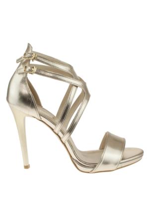 Alisolmaz 3050 Çift Toka Altın Kadın Ayakkabı