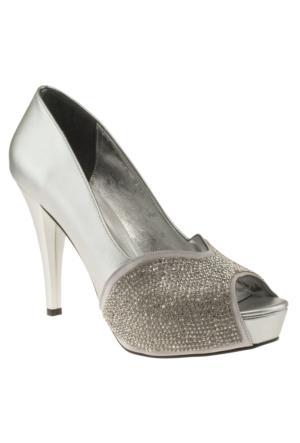 Alisolmaz 3060 On Acik Tasli Klasik Gümüş Kadın Ayakkabı