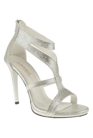 Alisolmaz 3023 Bantli Gümüş Kadın Ayakkabı