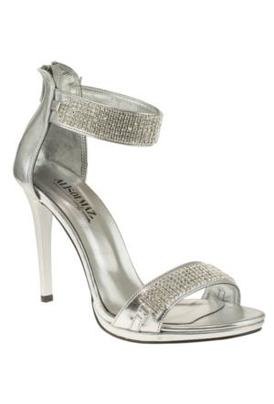 Alisolmaz 3062 Tasli Ince Bilek Bantli Gümüş Kadın Ayakkabı