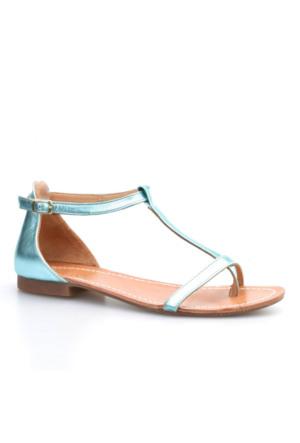 Cabani Sandalet Kadın Sandalet Mavi Deri
