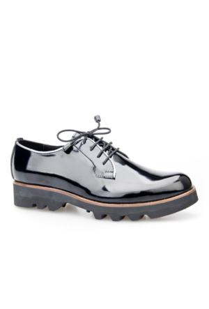 Cabani Bağcıklı Kadın Ayakkabı Siyah Açma Deri