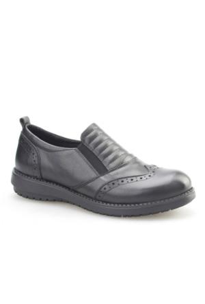 Cabani Comford Günlük Kadın Ayakkabı Siyah Analin Deri
