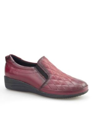 Cabani Comford Günlük Kadın Ayakkabı Bordo Analin Deri