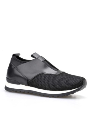 Cabani Bağcıksız Günlük Kadın Ayakkabı Siyah Deri