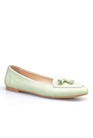 Cabani Fiyonklu Günlük Kadın Ayakkabı Yeşil Kırma Deri