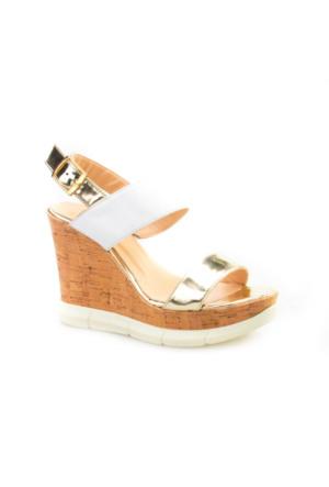 Cabani Dolgu Topuk Günlük Kadın Sandalet Beyaz